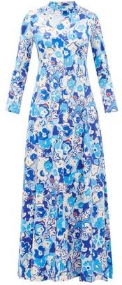 Vika Gazinskaya Floral-print Satin Maxi Dress - Womens - Multi
