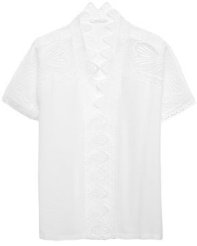 Maje Guipure Lace-trimmed Crepe Top