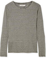 Etoile Isabel Marant Kaaron Striped Linen And Cotton-blend Top - Black