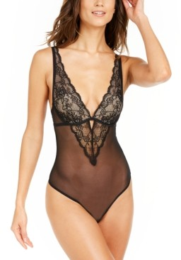 INC International Concepts Inc Sheer Lace Underwire Thong Bodysuit, Created for Macy's