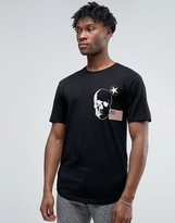 ONLY & SONS Longline T-Shirt With Badge Detailing And Curved Hem