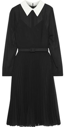Mikael Aghal Belted Crepe De Chine-trimmed Pleated Chiffon Dress