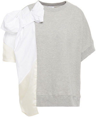 Clu Bow-embellished Cotton-poplin, Lame And French Cotton-blend Terry Top