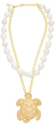 BEGÜM KHAN Tortuga Pearl & 24kt Gold-plated Bronze Necklace - Pearl