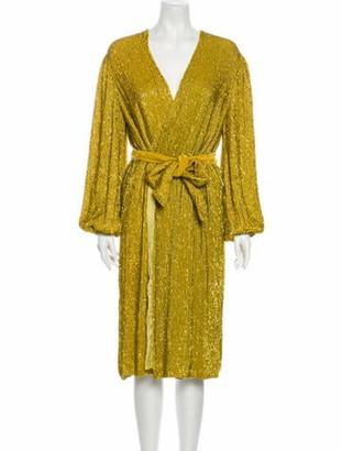 retrofete V-Neck Midi Length Dress Gold