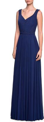 La Femme Sleeveless Ruched-Bodice Net Jersey Gown w/ Tonal Rhinestones
