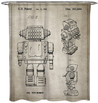 """Oliver Gal Toy Robot, 1982, Gray"""" Shower Curtain, 71""""x74"""""""