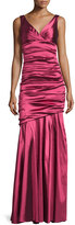 Theia Sleeveless Ruched Mermaid Gown, Magenta
