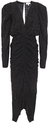 Ronny Kobo Ruched Zebra-print Silk-blend Satin-jacquard Midi Dress