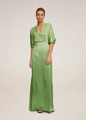 MANGO Wrapped satin dress green - 4 - Women