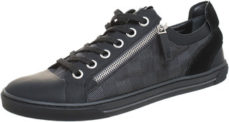 Louis Vuitton Graphite Damier Nylon And Black Leather/Suede Adventure Low Top Sneakers Size 41