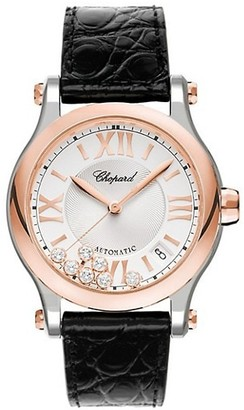 Chopard Happy Sport 18K Rose Gold, Stainless Steel, Diamond & Leather-Strap Watch