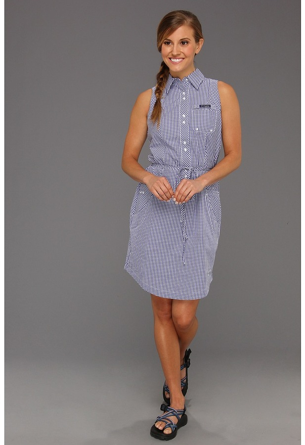 Columbia Super Bonehead S/L Dress (Bright Rose Gingham) - Apparel