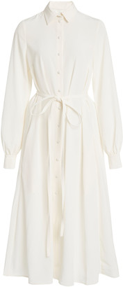 Co Japanese Stretch Crepe Belted Shirt Dress