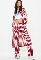 Missguided Red Stripe Wide Leg Trouser, Red