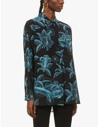 Givenchy Floral and schematics-print silk-crepe shirt