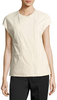Vince Leather Cap-Sleeve Jacket, White