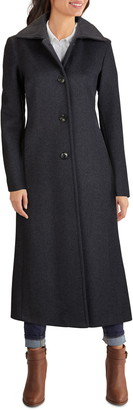 Kenneth Cole New York Single Breasted Long Wool Blend Coat