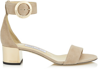 Jimmy Choo JAIMIE 40 Ballet Pink Suede Sandal with Round Buckle Fastening