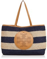 Tory Burch Perforated Logo Straw Tote