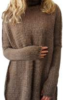 YoungSoul Women Turtleneck Knit Sweater Pullover with Thumb Holee S