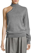 Michael Kors One-Sleeve Cashmere Turtleneck Sweater, Gray