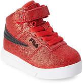 Fila Toddler Girls) Fire Red & Black Vulc 13 Glitter Blast High Top Sneakers