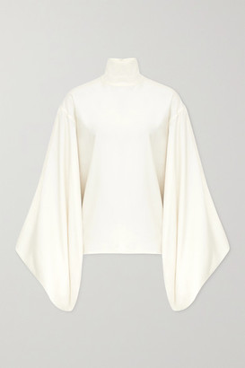 Victoria Beckham Silk-crepe Turtleneck Blouse - Off-white