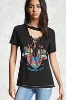 Forever 21 FOREVER 21+ Lace-Up Moto Club Graphic Tee