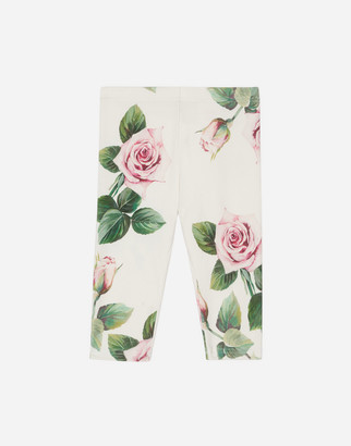 Dolce & Gabbana Interlock Leggings With Tropical Rose Print