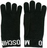 Moschino logo trim gloves