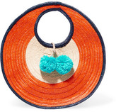 Sophie Anderson - Adorada Mini Pompom-embellished Woven Raffia Tote - Orange