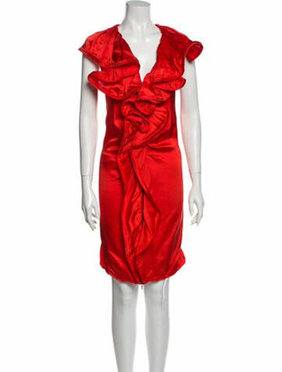 Lanvin 2008 Knee-Length Dress Red