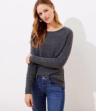 LOFT Petite Ribbed Yoke Cable Sweater