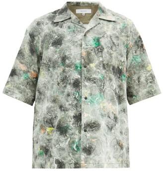 SASQUATCHfabrix. Norihagashi Camp-collar Marble-print Cotton Shirt - Green Multi