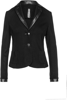 Conquista Black Fitted Jacket With Faux Leather Detail