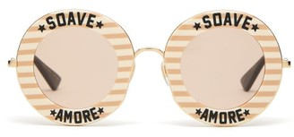 Gucci Soave Amore Striped Round Acetate Sunglasses - Womens - Pink Gold