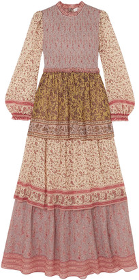 Zimmermann Juniper Tiered Printed Crinkled Cotton And Silk-blend Maxi Dress