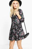 Boohoo Petite Phillis Floral Brushed Knit Swing Dress