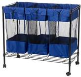 Household Essentials 7119 Rolling Triple Laundry Sorter on Wheels – Storage Organizer- Steel Frame