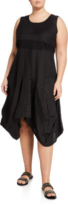 Neiman Marcus Plus Plus Size Sleeveless Handkerchief Linen Dress