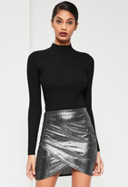 Missguided Silver Foiled Ribbed Asymmetric Skirt