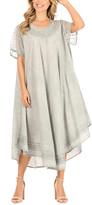 Sakkas Women's Casual Dresses Light - Light Gray Embroidered Curved-Hem Midi Dress - Women