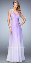 La Femme Beaded Multi Strap Open Back Ombre Prom Dress