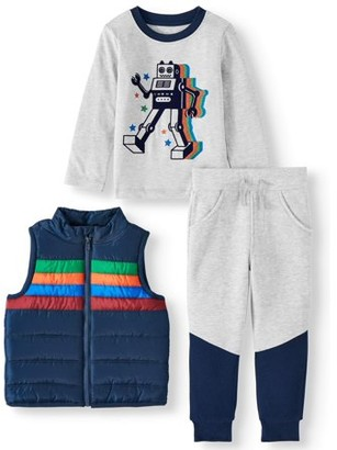 Wonder Nation Stripe Puffer Vest, Long Sleeve Graphic T-shirt & Drawstring Joggers, 3pc Outfit Set (Toddler Boys)