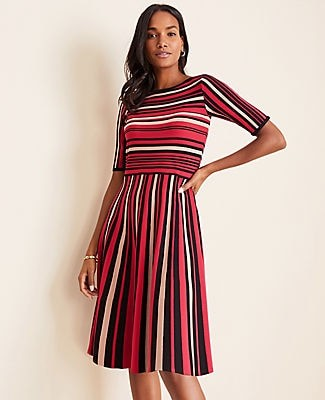 Ann Taylor Striped Flare Sweater Dress