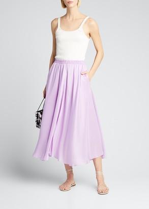 Vince Gathered Silk Pull-On Midi Skirt