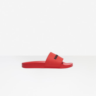 Balenciaga Pool Slide in red and black rubber