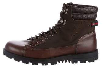 Gucci Guccissima-Trimmed Hiking Boots