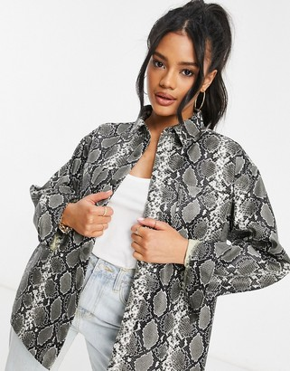 ASOS DESIGN shacket in leather look in snake print